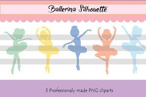 Ballerina Clipart - Color Silhouette