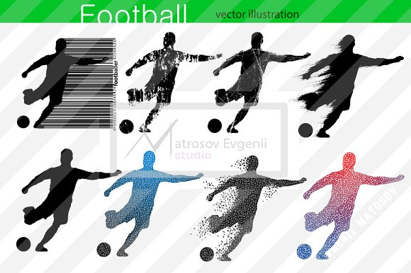Silhouettes Of Football Players Set