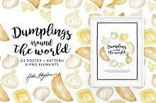 Dumplings watercolor illustration