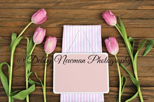 Pink Tulips with pink slate Mock Up