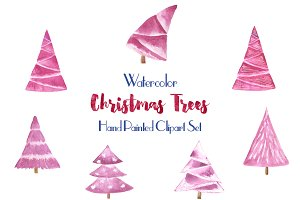 Watercolor Christmas tree clipart