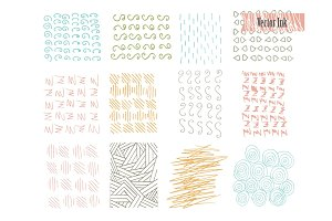 Hand Drawn Hipster Textures Made with Ink. Retro Patterns for Posters, Flyers and Banner Designs. Vector Brushes Decor Elements. Isolated on White Background. Abstract Strokes