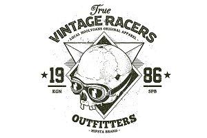 Vintage Racer | Vector Dotwork Skull
