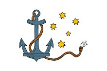 Anchor with Rope and Southern Star