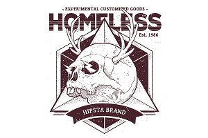 Homeless | Vector Dotwork Skull