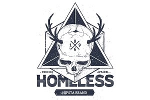 Homeless #2 | Vector Dotwork Skull