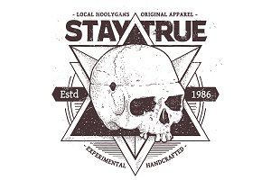 Stay True | Vector Dotwork Skull