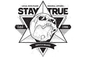 Stay True #2 | Vector Dotwork Skull