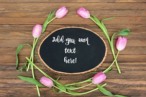 Spring Tulips & Chalkboard Mock Up