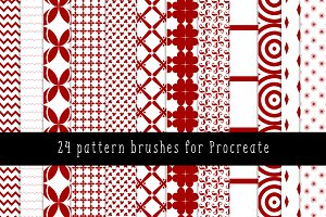 24 pattern brushes for Procreate