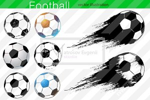 Silhouettes of football ball. Set