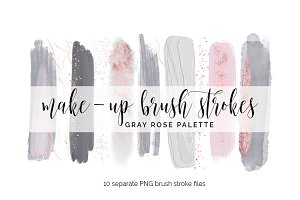 Brush Strokes Clipart - gray rose