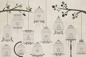 Bird Cage Vector clipart