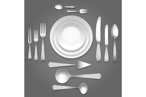 Vector dinnerware top view