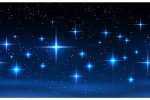 Night sky horizontal seamless pattern