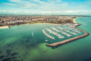 Aerial Landscape of Marina & Yachts