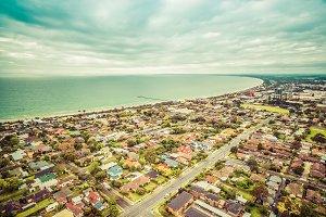 Aerial view suburban area Australia