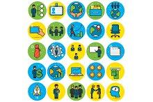 Business Icons Set Flat