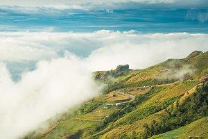 Mist-covered peaks