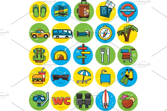 Travel Icons Set flat colorful