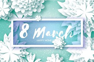 White Paper Cut Flower. 8 March. Origami Women's Day. Rectangle Frame. Space for text