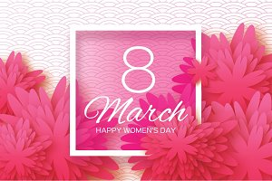 Pink Paper flower. Women's Day. 8 March. Square