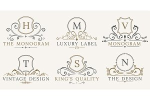 Retro Royal Vintage Shields. Vector Luxury logo design elements. Business signs, identity, badges