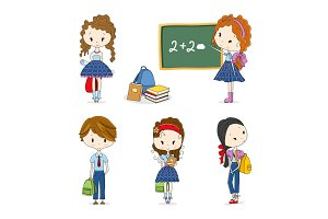 Vector illustration Group of School Children
