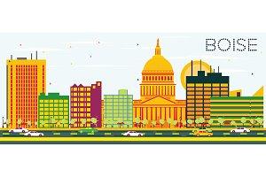 Boise Skyline with Color Buildings