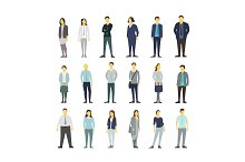 Set of business people group from office