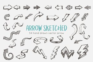 Hand Sketched Arrows Set