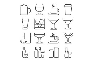 drink line icons set