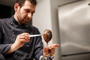 Chef served chocolate pudding