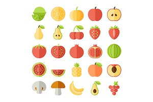 Vector fruit flat icon set