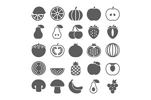 Fruit black icons set