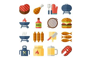 grill and bbq flat icons