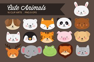 Cute Animal Heads Clip Art