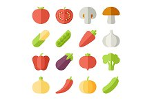 fruits and vegetables flat icons