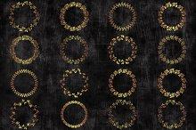 Gold circle floral wreaths clipart