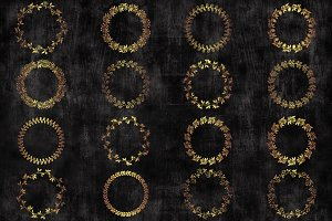 Gold circle floral wreaths clipart