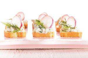 canapes  with radish