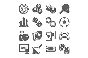toys and games icons