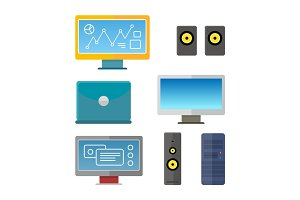Set of Computer Peripherals Illustrations.
