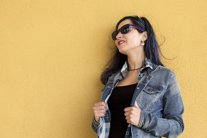 young hipster woman with sunglasses