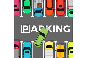 Parking Conceptual Web Banner. Car Leaves Place