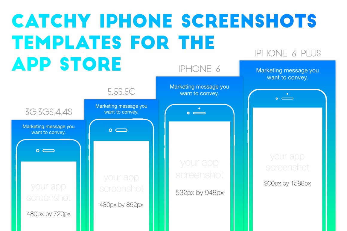 Iphone appstore screenshots template illustrations creative market maxwellsz