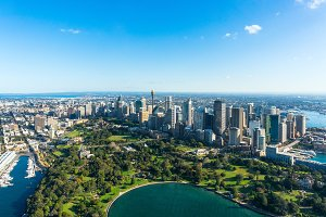 Aerial view on Sydney CBD and Royal Botanic Gardens