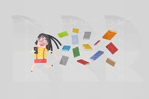 Girl run away of many books