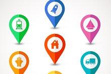 flat transport  map pins
