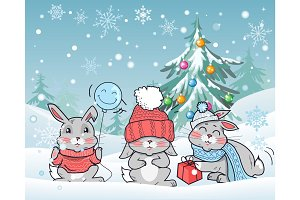 Christmas Rabbits Vector Flat Design Illustration